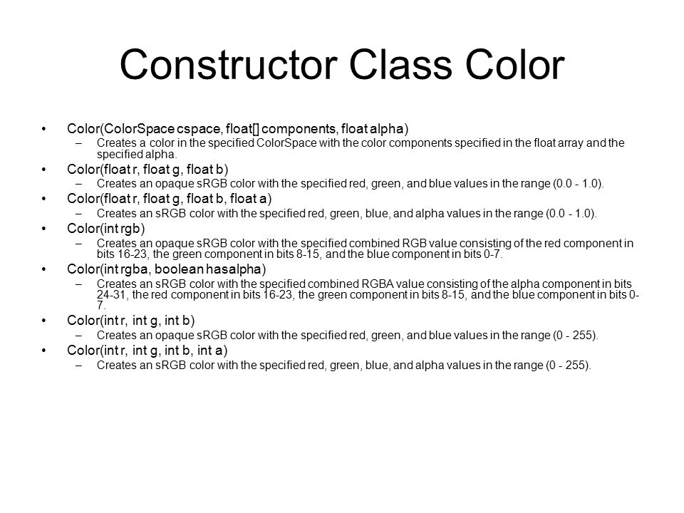 Constructor Class Color