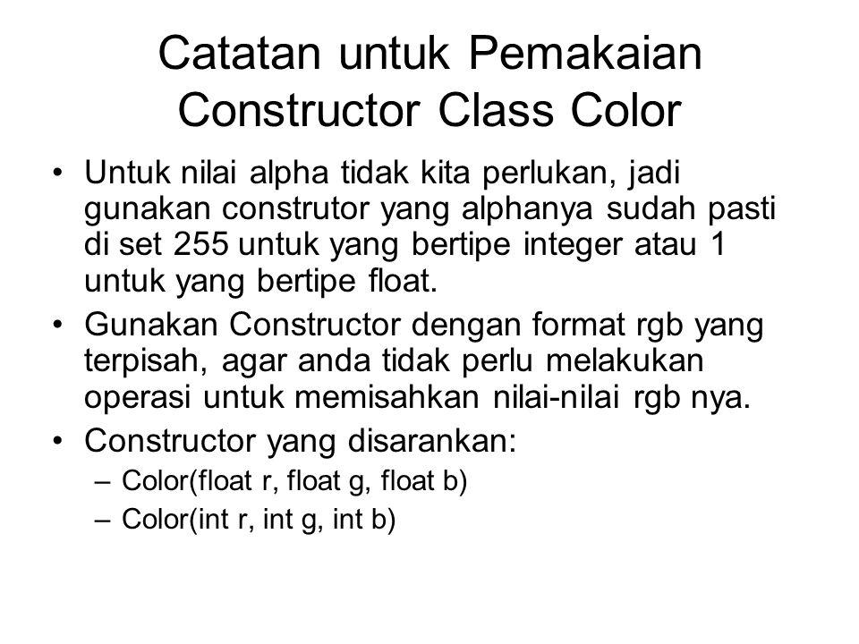 Catatan untuk Pemakaian Constructor Class Color