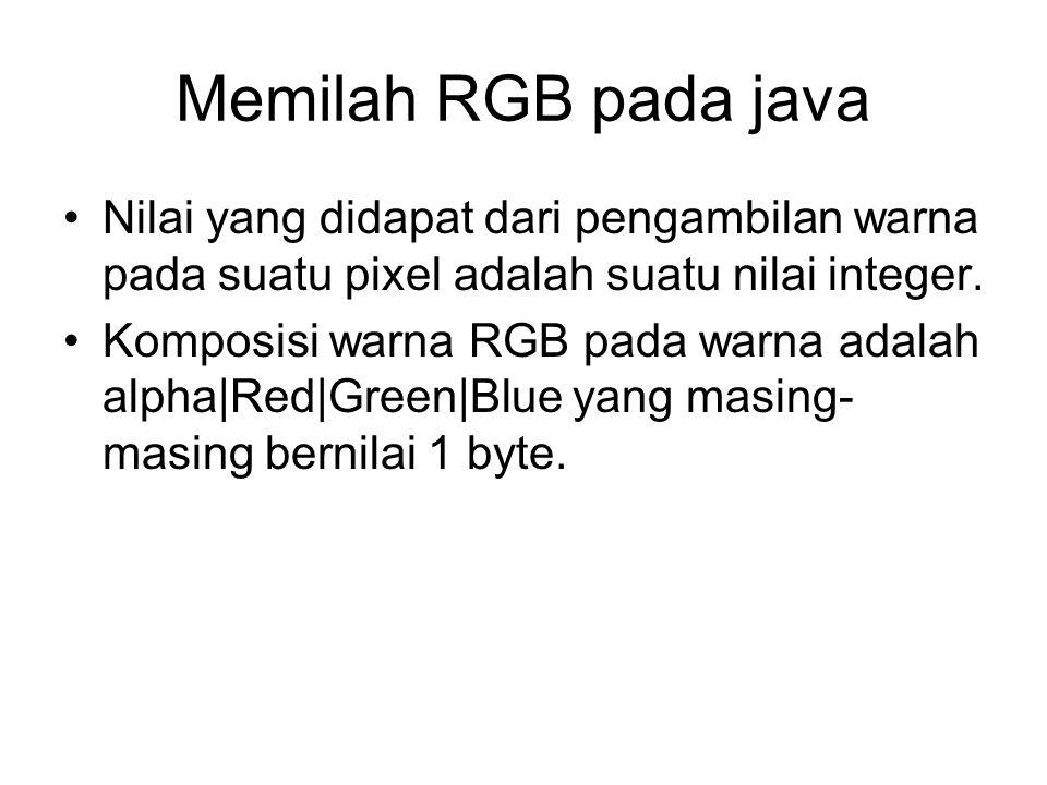 Memilah RGB pada java Nilai yang didapat dari pengambilan warna pada suatu pixel adalah suatu nilai integer.