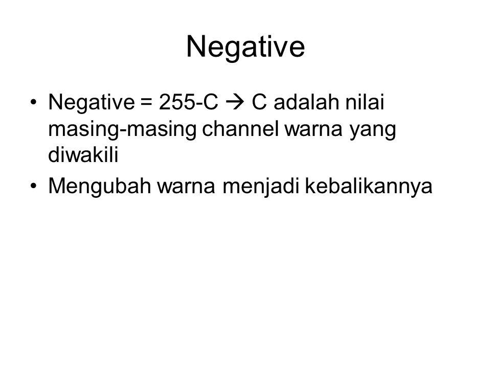 Negative Negative = 255-C  C adalah nilai masing-masing channel warna yang diwakili.