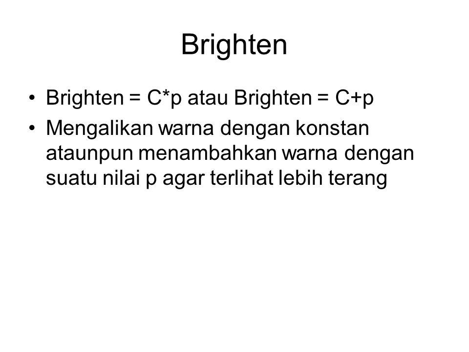 Brighten Brighten = C*p atau Brighten = C+p