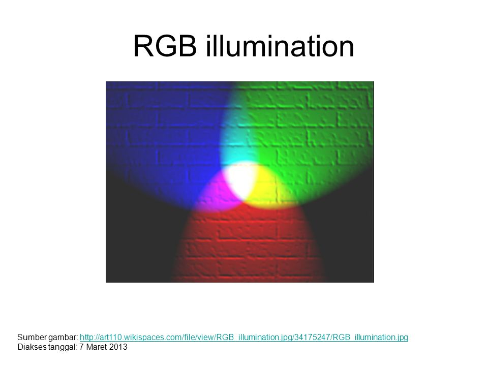 RGB illumination Sumber gambar: http://art110.wikispaces.com/file/view/RGB_illumination.jpg/34175247/RGB_illumination.jpg.