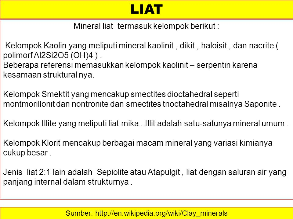 LIAT Mineral liat termasuk kelompok berikut :