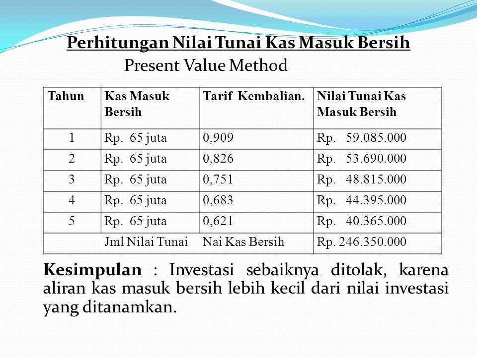 Perhitungan Nilai Tunai Kas Masuk Bersih Present Value Method Kesimpulan : Investasi sebaiknya ditolak, karena aliran kas masuk bersih lebih kecil dari nilai investasi yang ditanamkan.