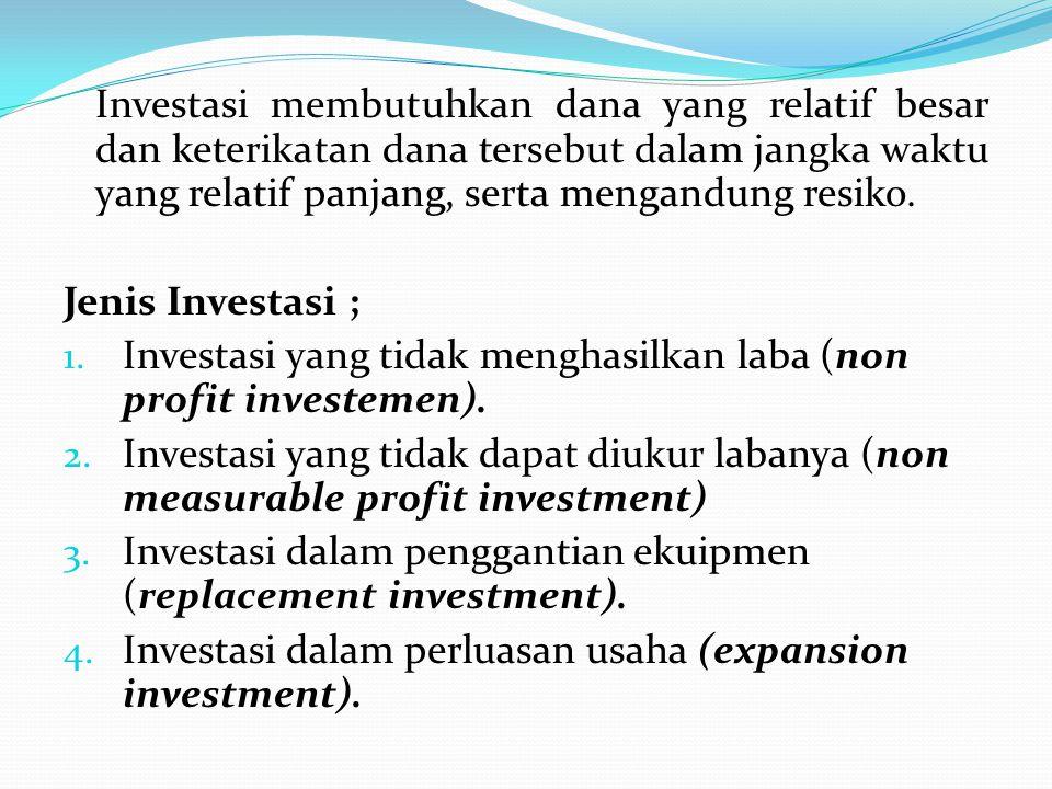Investasi membutuhkan dana yang relatif besar dan keterikatan dana tersebut dalam jangka waktu yang relatif panjang, serta mengandung resiko.