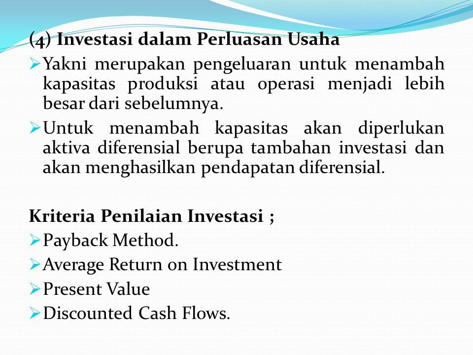 (4) Investasi dalam Perluasan Usaha