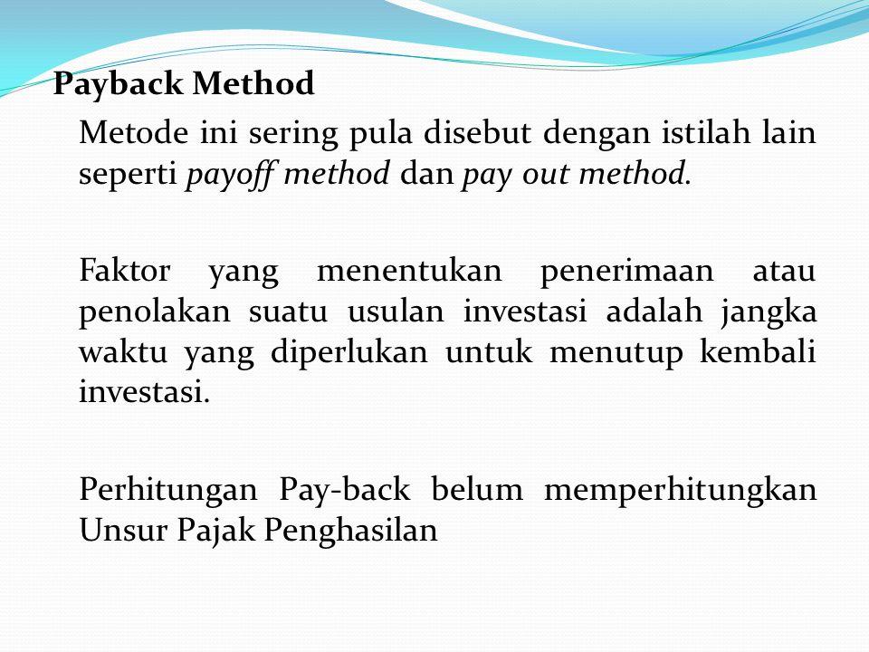 Payback Method Metode ini sering pula disebut dengan istilah lain seperti payoff method dan pay out method.