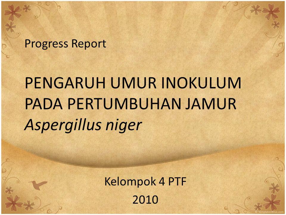 Progress Report PENGARUH UMUR INOKULUM PADA PERTUMBUHAN JAMUR Aspergillus niger