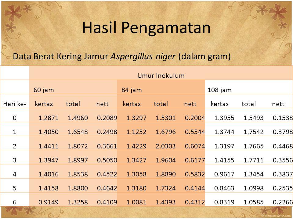 Hasil Pengamatan Data Berat Kering Jamur Aspergillus niger (dalam gram) Umur Inokulum. 60 jam. 84 jam.