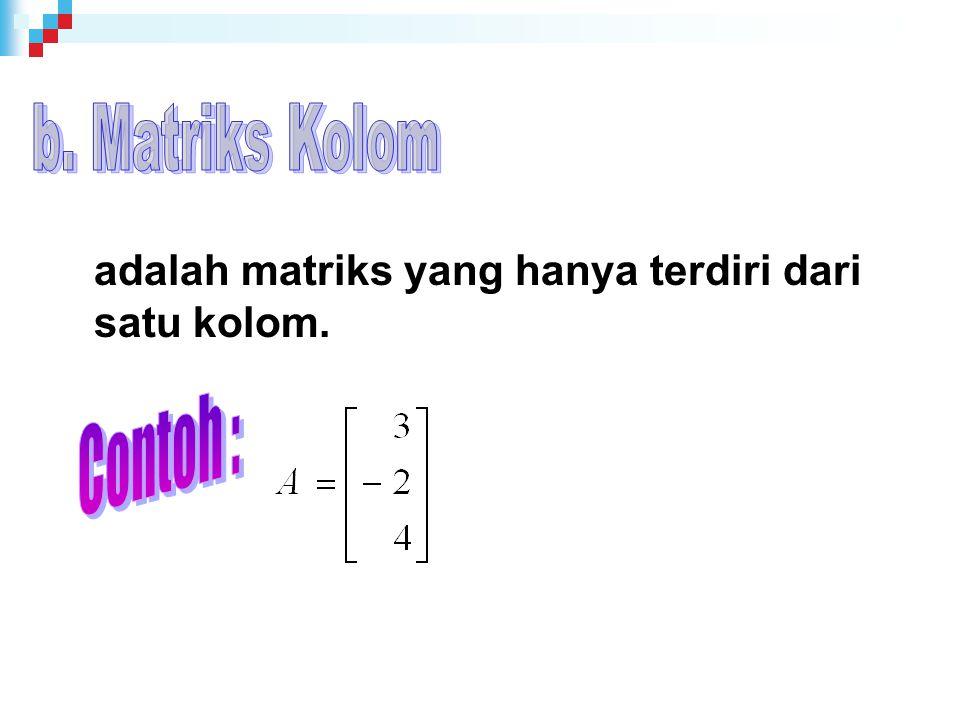 b. Matriks Kolom Contoh :