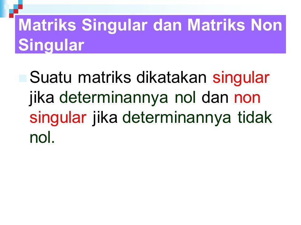 Matriks Singular dan Matriks Non Singular