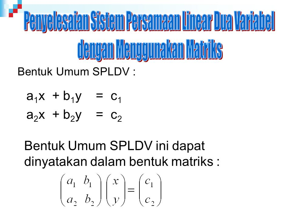 Penyelesaian Sistem Persamaan Linear Dua Variabel