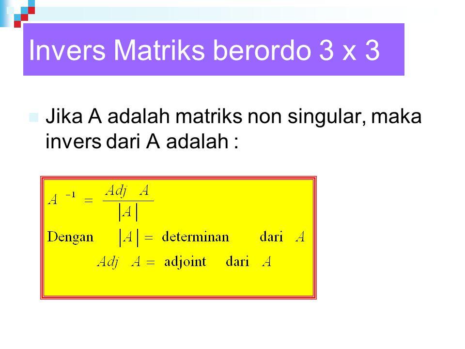 Invers Matriks berordo 3 x 3