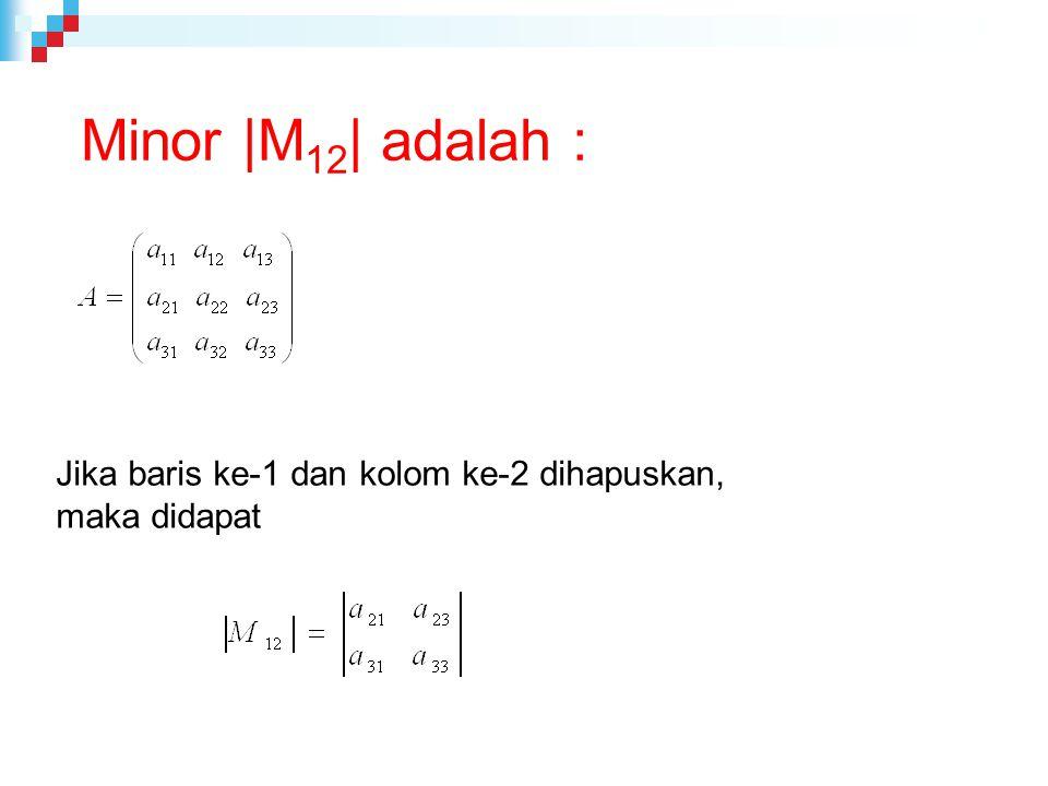 Minor |M12| adalah : Jika baris ke-1 dan kolom ke-2 dihapuskan,