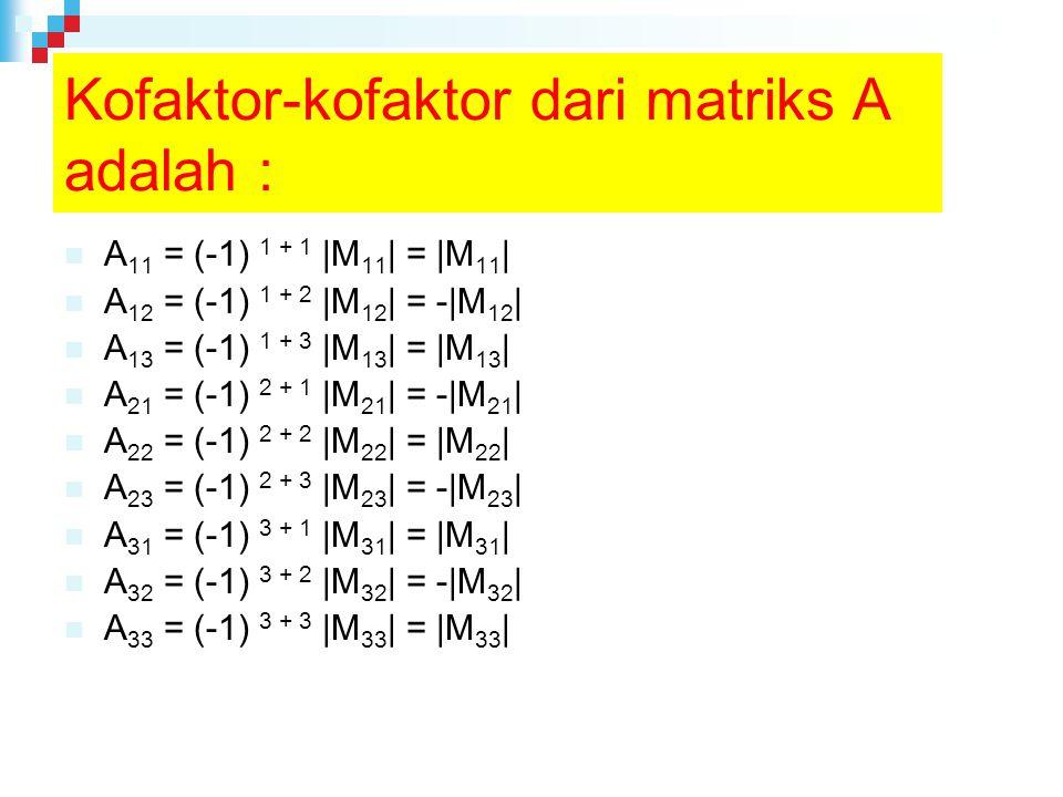 Kofaktor-kofaktor dari matriks A adalah :