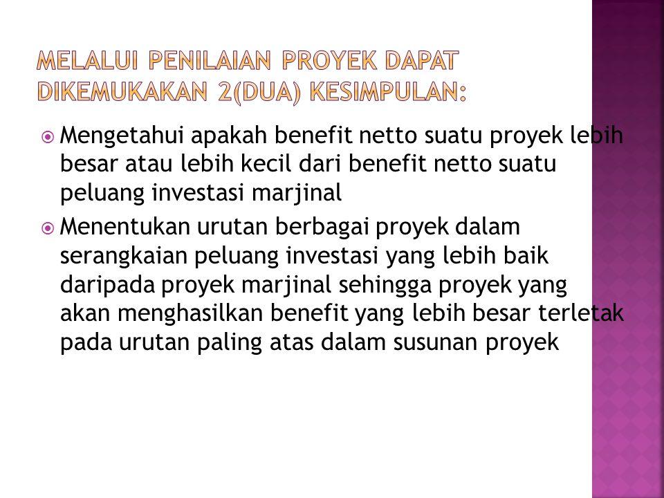 Melalui Penilaian Proyek Dapat Dikemukakan 2(dua) Kesimpulan:
