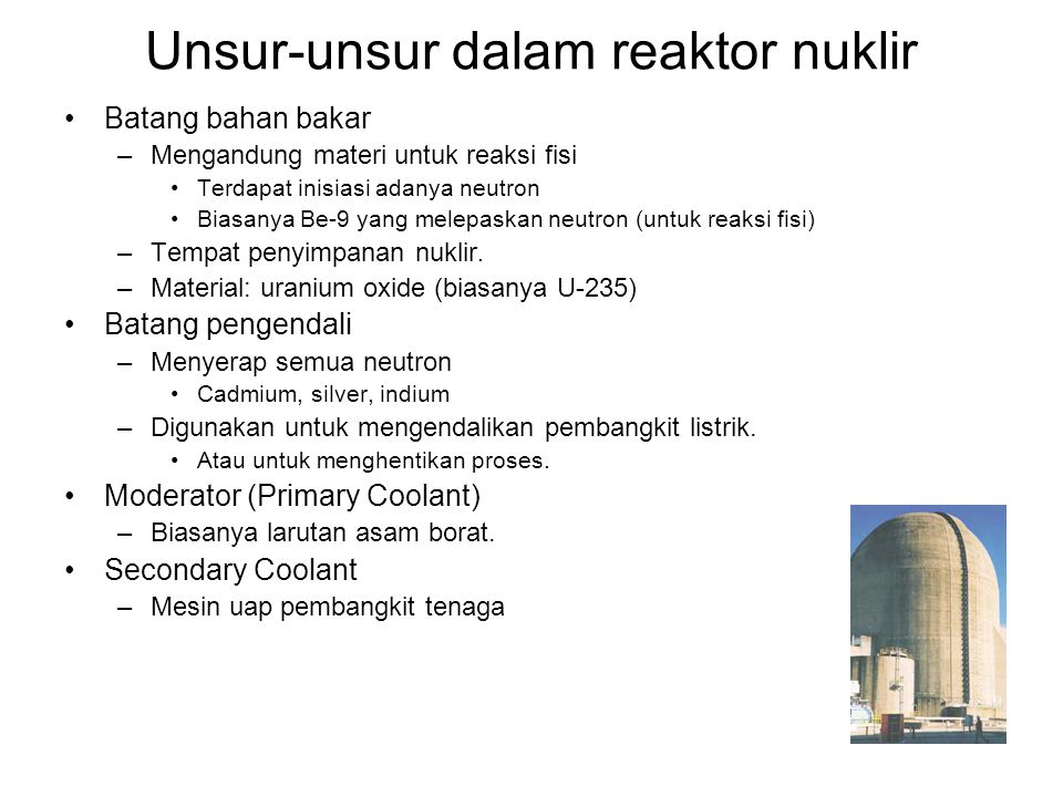 Unsur-unsur dalam reaktor nuklir
