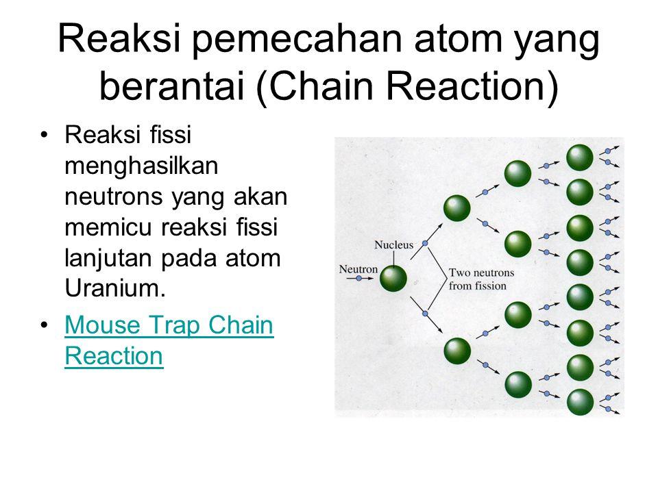 Reaksi pemecahan atom yang berantai (Chain Reaction)