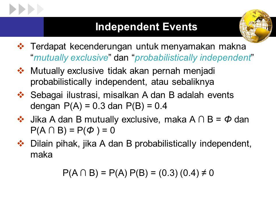 Independent Events Terdapat kecenderungan untuk menyamakan makna mutually exclusive dan probabilistically independent