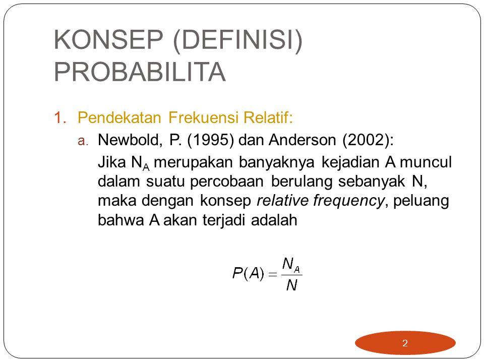 KONSEP (DEFINISI) PROBABILITA