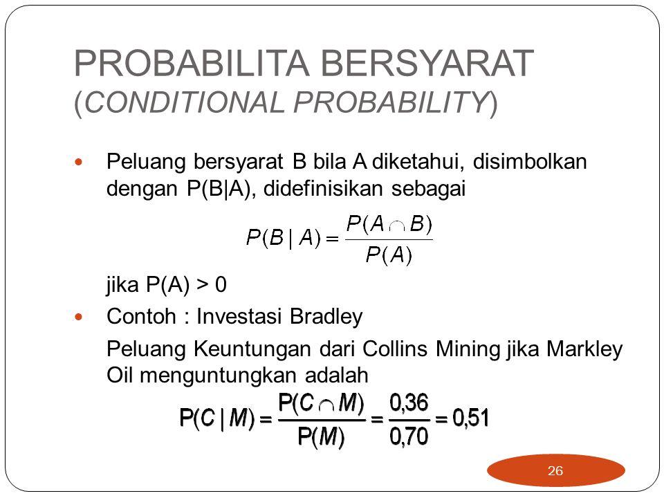 PROBABILITA BERSYARAT (CONDITIONAL PROBABILITY)
