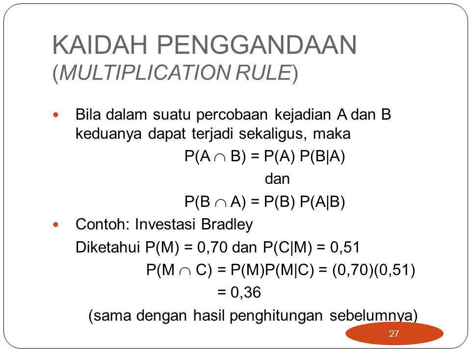 KAIDAH PENGGANDAAN (MULTIPLICATION RULE)