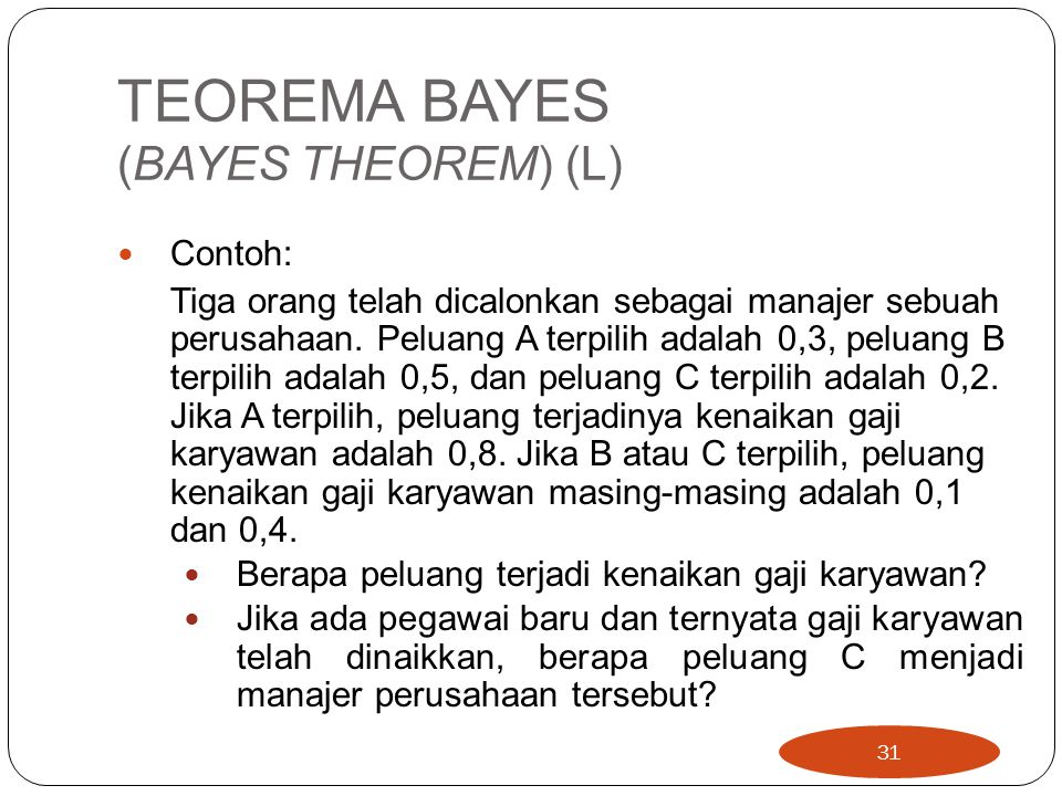 TEOREMA BAYES (BAYES THEOREM) (L)