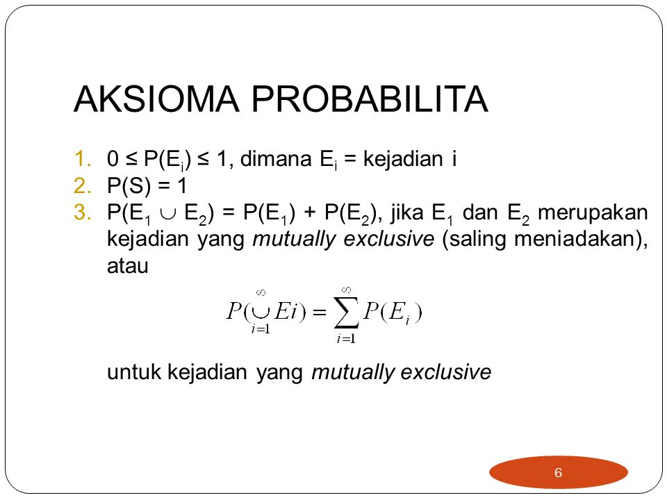 AKSIOMA PROBABILITA 0 ≤ P(Ei) ≤ 1, dimana Ei = kejadian i P(S) = 1