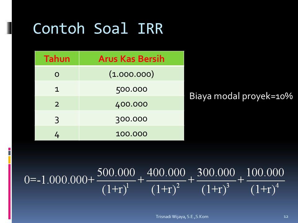 Contoh Soal IRR Tahun Arus Kas Bersih (1.000.000) 1 500.000 2 400.000