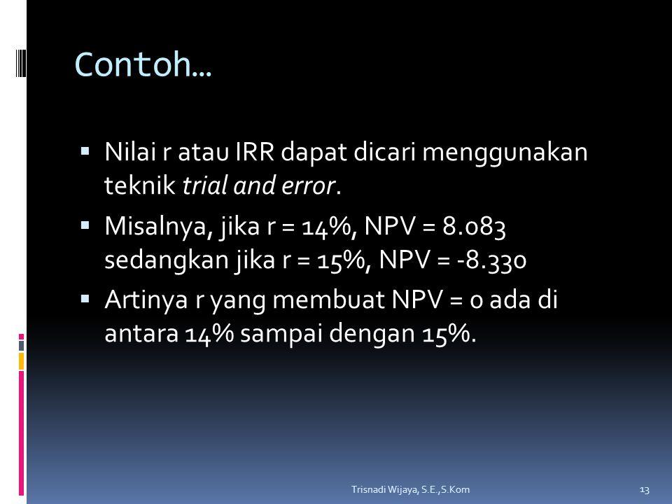 Contoh… Nilai r atau IRR dapat dicari menggunakan teknik trial and error. Misalnya, jika r = 14%, NPV = 8.083 sedangkan jika r = 15%, NPV = -8.330.
