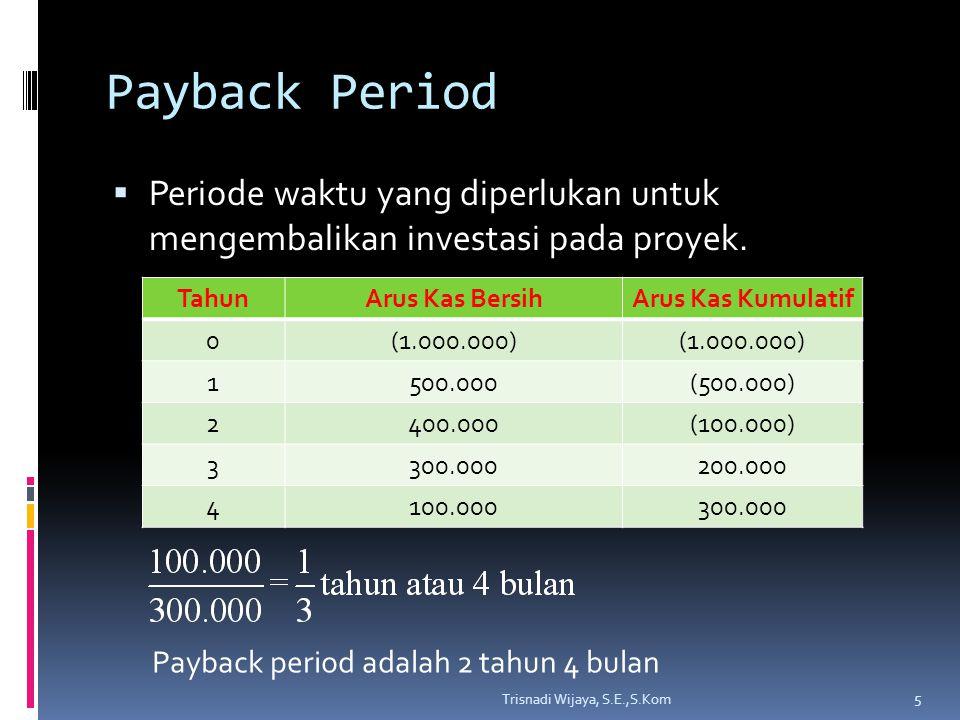 Payback Period Periode waktu yang diperlukan untuk mengembalikan investasi pada proyek. Tahun. Arus Kas Bersih.
