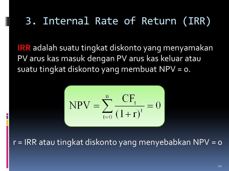 3. Internal Rate of Return (IRR)