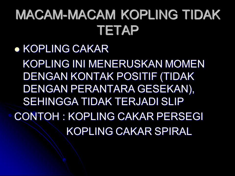 MACAM-MACAM KOPLING TIDAK TETAP