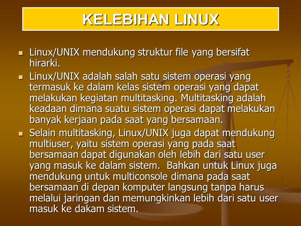 KELEBIHAN LINUX Linux/UNIX mendukung struktur file yang bersifat hirarki.