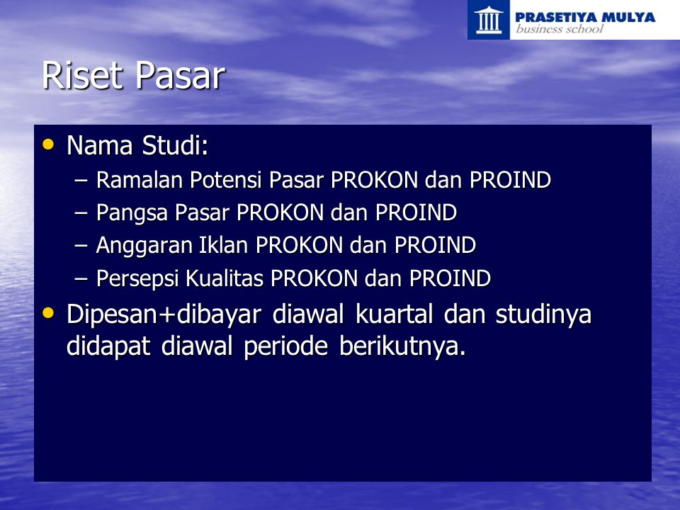 Riset Pasar Nama Studi: