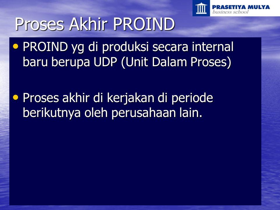Proses Akhir PROIND PROIND yg di produksi secara internal baru berupa UDP (Unit Dalam Proses)
