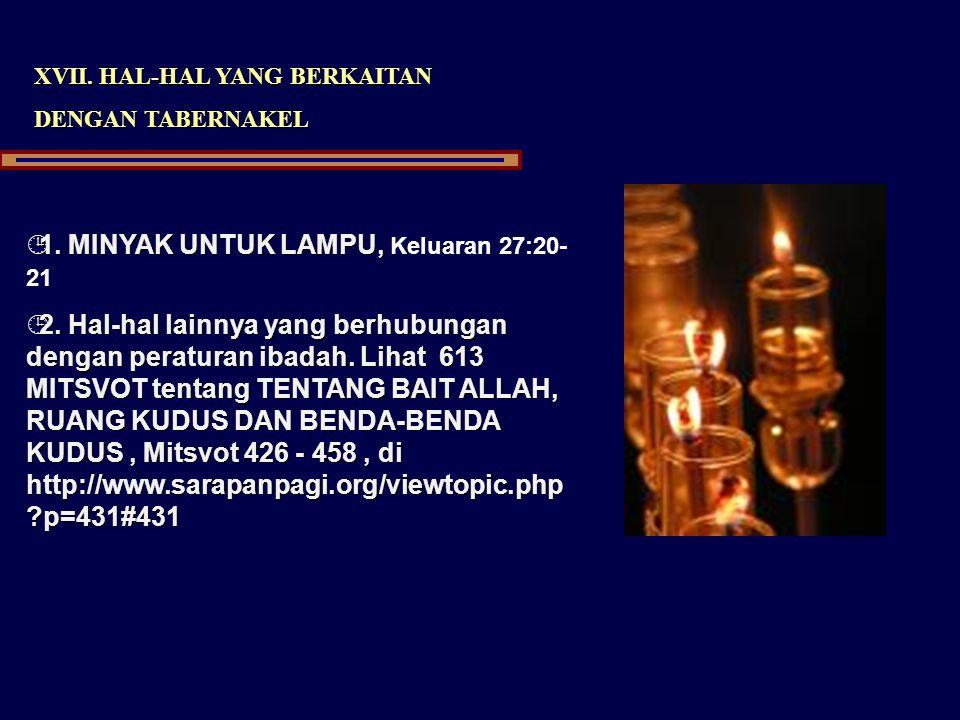 1. MINYAK UNTUK LAMPU, Keluaran 27:20-21