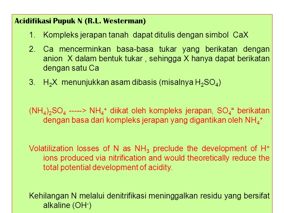 Acidifikasi Pupuk N (R.L. Westerman)