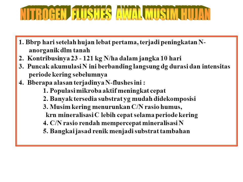 NITROGEN FLUSHES AWAL MUSIM HUJAN