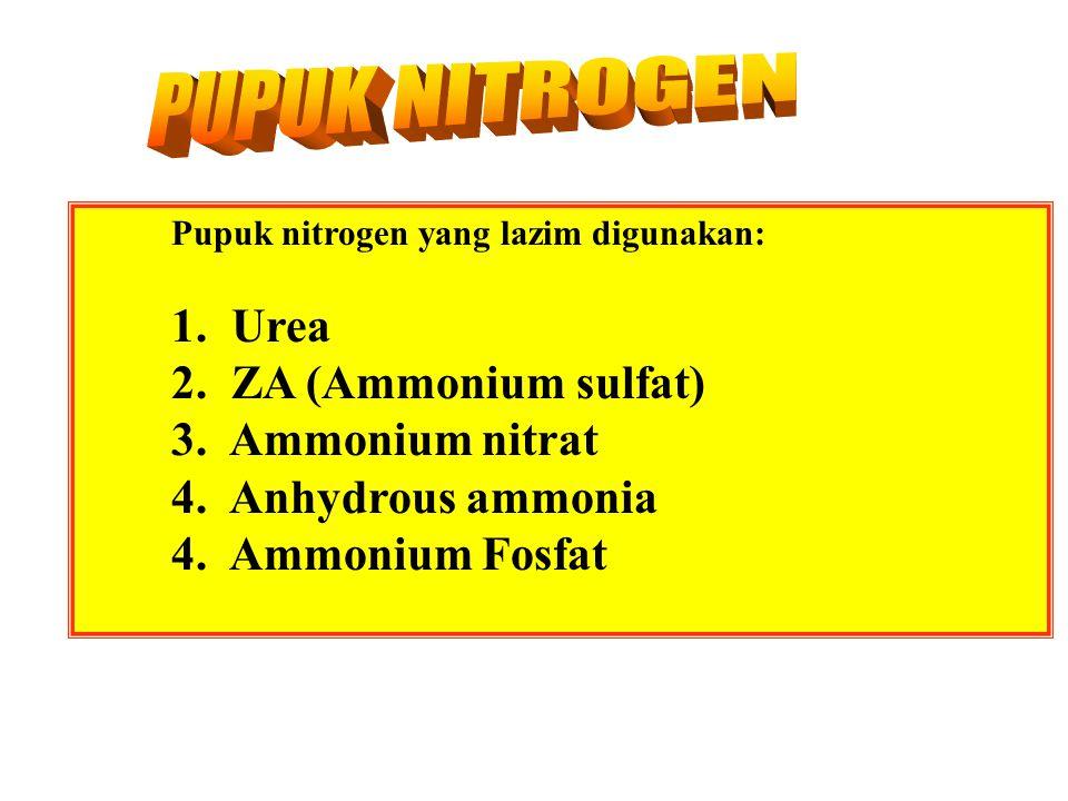 PUPUK NITROGEN 1. Urea 2. ZA (Ammonium sulfat) 3. Ammonium nitrat