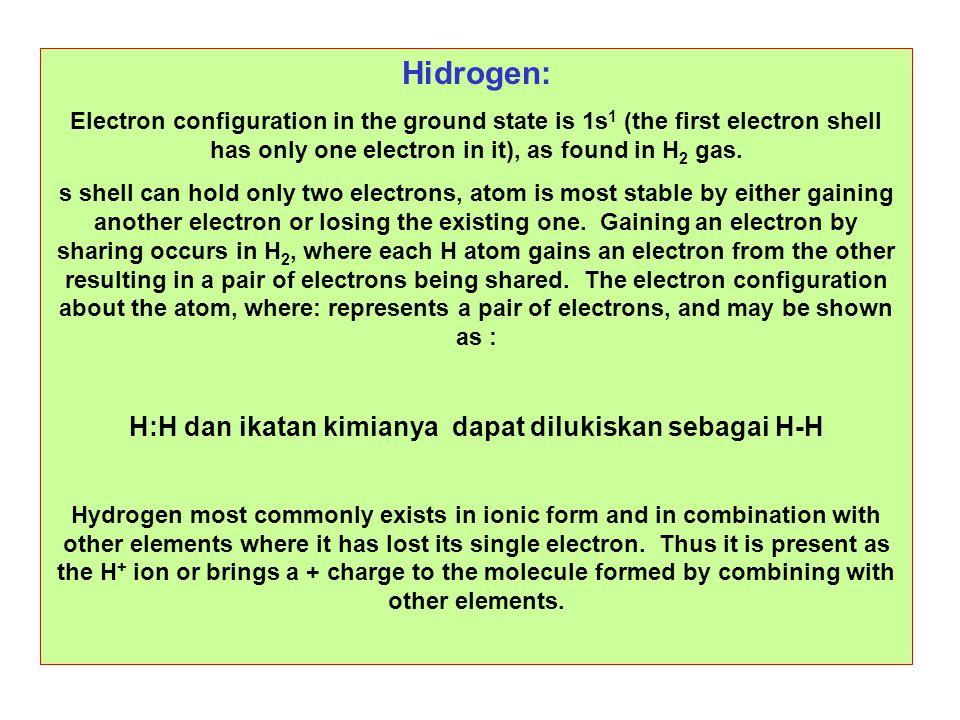 H:H dan ikatan kimianya dapat dilukiskan sebagai H-H