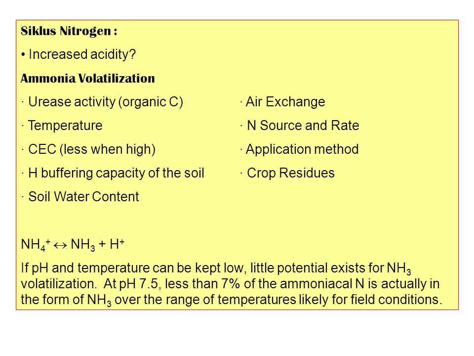 Siklus Nitrogen : Increased acidity Ammonia Volatilization. · Urease activity (organic C) · Air Exchange.