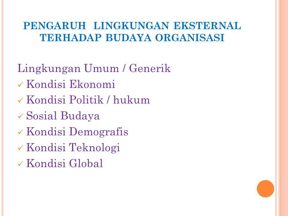 PENGARUH LINGKUNGAN EKSTERNAL TERHADAP BUDAYA ORGANISASI