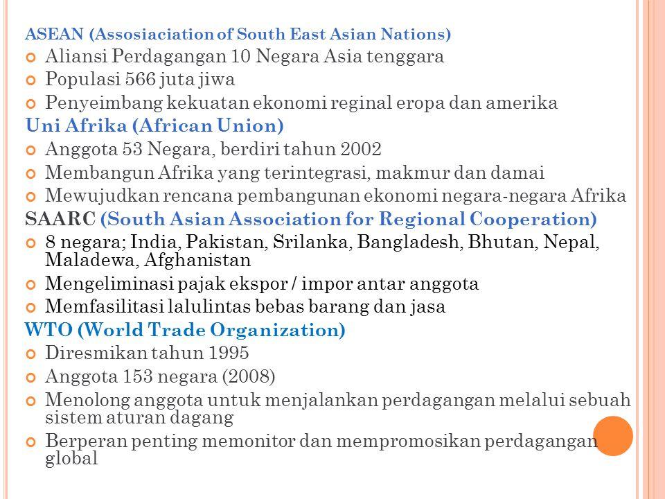 Aliansi Perdagangan 10 Negara Asia tenggara Populasi 566 juta jiwa