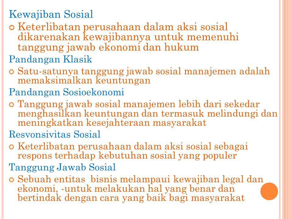 Kewajiban Sosial Keterlibatan perusahaan dalam aksi sosial dikarenakan kewajibannya untuk memenuhi tanggung jawab ekonomi dan hukum.