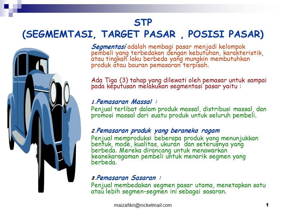 STP (SEGMEMTASI, TARGET PASAR , POSISI PASAR)