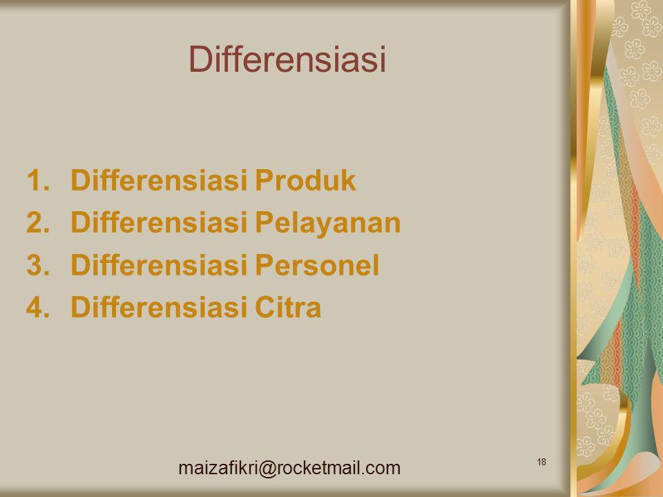 Differensiasi Differensiasi Produk Differensiasi Pelayanan