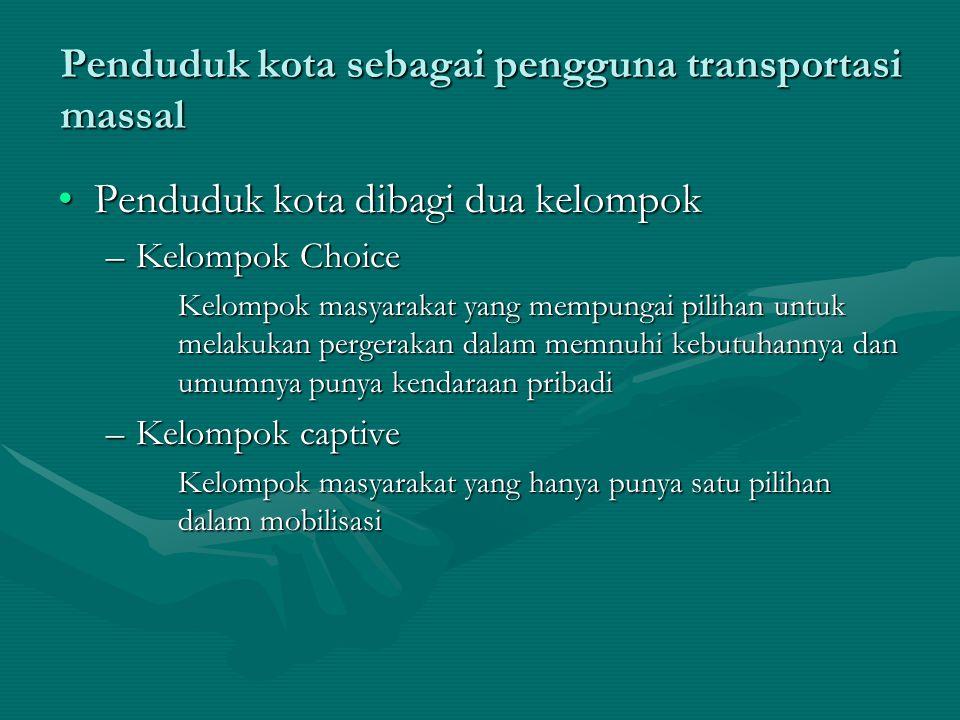 Penduduk kota sebagai pengguna transportasi massal