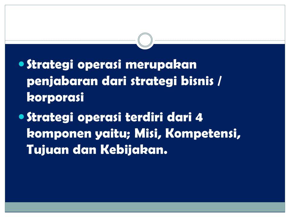 Strategi operasi merupakan penjabaran dari strategi bisnis / korporasi