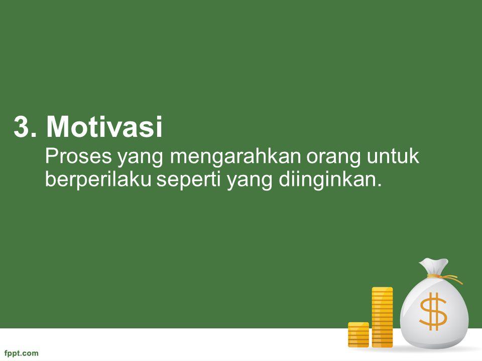 3. Motivasi Proses yang mengarahkan orang untuk berperilaku seperti yang diinginkan.